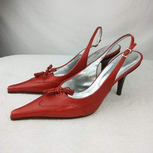 Saks Fifth Avenue Red Italian Leather Heel Shoes